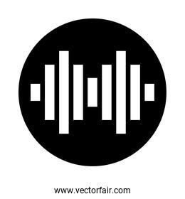 circle with squared sound wave, vector illustration