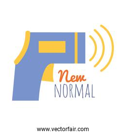 new normal design of infrared thermometer icon, flat style