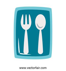 plastic bag with spoon and fork, flat style