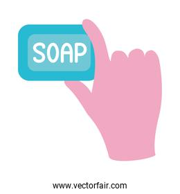 hand holding a soap bar icon, flat style