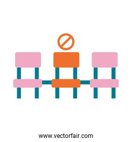 physical distancing or social distance icon chair distance, flat style