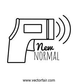 new normal design of infrared thermometer icon, line style