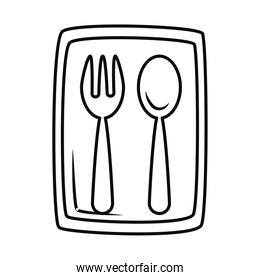 plastic bag with spoon and fork, line style