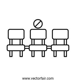 physical distancing or social distance icon chair distance, line style
