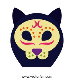 cat of day of dead icon, flat style