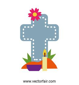 mexican day of dead concept, cross grave with flowers and candle, flat style