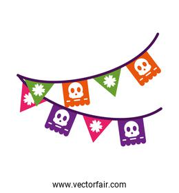 mexican pennants icon, flat style