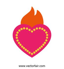 mexican sacred heart icon, flat style