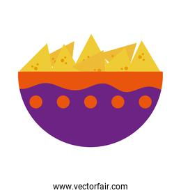 mexican bowl with chips icon, flat style