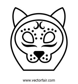 cat of day of dead icon, line style