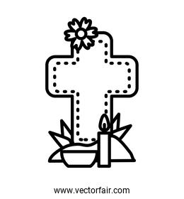 mexican day of dead concept, cross grave with flowers and candle, line style