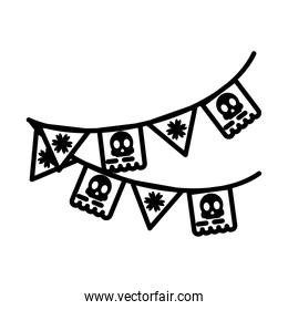 mexican pennants icon, line style