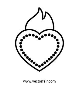 mexican sacred heart icon, line style
