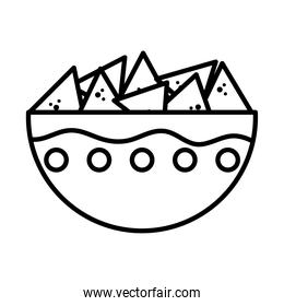 mexican bowl with chips icon, line style