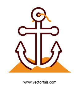 anchor on the sand icon, half line half color style