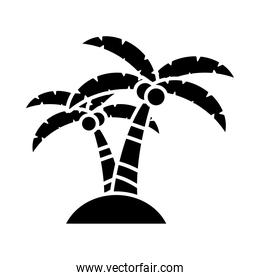 tropical palms icon, silhouette style