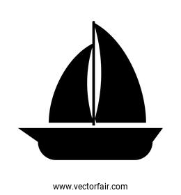 sailing boat icon, silhouette style