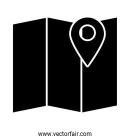 map with location pin icon, silhouette style