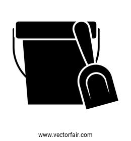 sand bucket and shovel, silhouette style