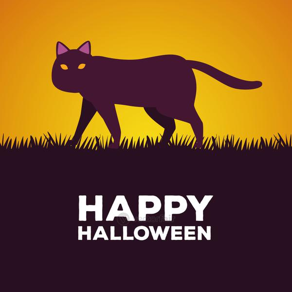 happy halloween celebration card with cat in grass