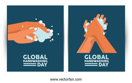 global handwashing day lettering with hands washing