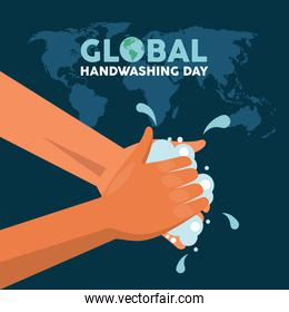 global handwashing day lettering with hands washing and earth maps