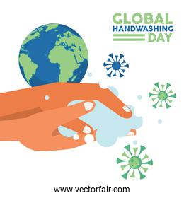 global handwashing day lettering with hands washing and covid19 particles