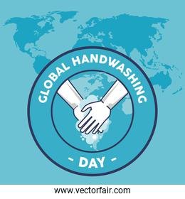 global handwashing day lettering with hands washing seal and earth maps