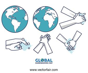 global handwashing day lettering with hands washing and earth planets