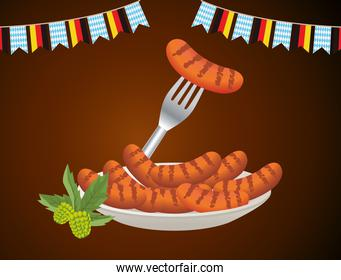 happy oktoberfest celebration with sausages in dish and garlands