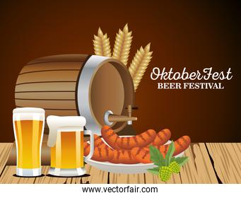 happy oktoberfest celebration barrel with beers jars and sausages