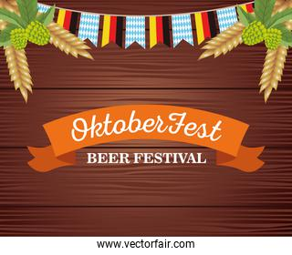 happy oktoberfest celebration with garlands and frame in wooden background