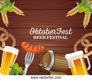 happy oktoberfest celebration with beers and food in wooden background