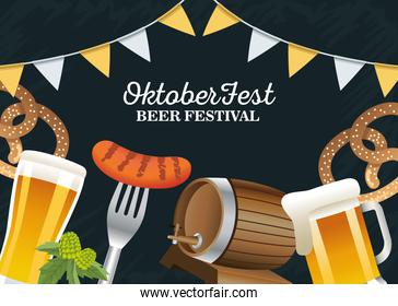 happy oktoberfest celebration with garlands and set icons