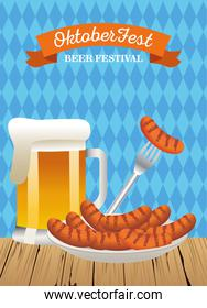 happy oktoberfest celebration with beer jar and sausages