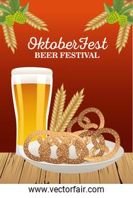 happy oktoberfest celebration with beer glass and pretzels in dish