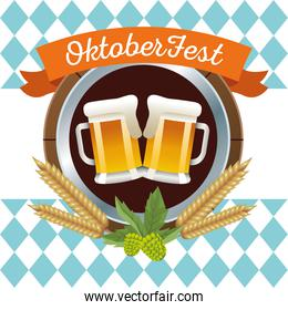 happy oktoberfest celebration with beers and barley circular frame