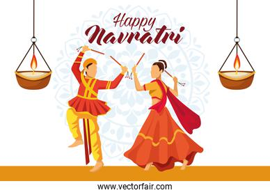 happy navratri celebration with dancers couple and candles