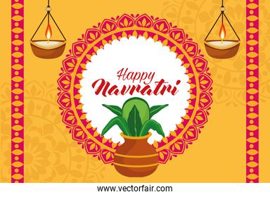 happy navratri celebration with houseplant in ceramic pot and candles hanging