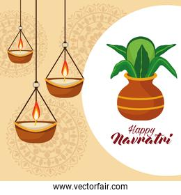 happy navratri celebration with drums and candles