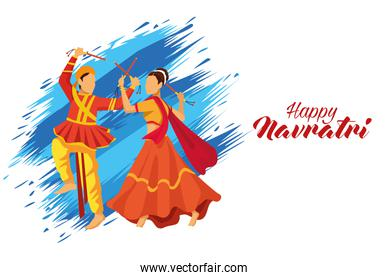 happy navratri celebration with dancers couple and lettering