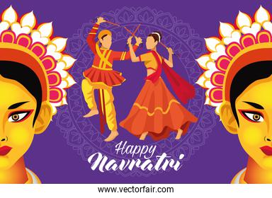 happy navratri celebration with dancers couple and goddess face