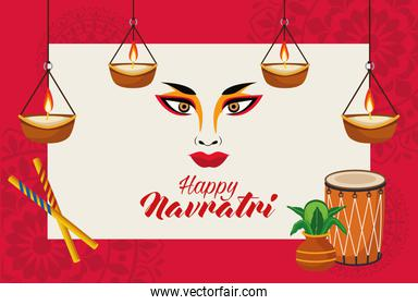 happy navratri cartel with goddess amba face and candles hanging