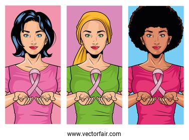 breast cancer awareness month with group of interracial girls lifting pink ribbon