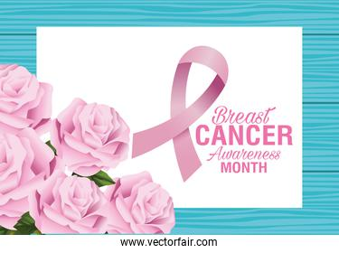 breast cancer awareness month lettering with roses flowers and ribbon pink