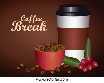 coffee break poster with cup and plastic container