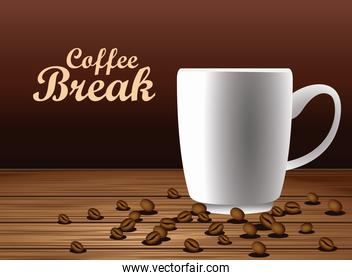 coffee break lettering poster with cup and seeds in wooden table