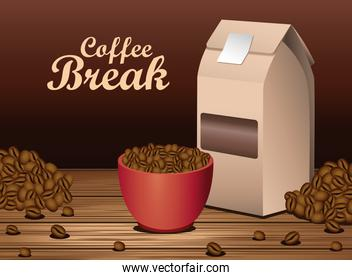 coffee break poster with cup and packing box in wooden table