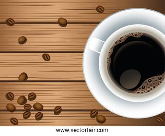 coffee break poster with cup and seeds in wooden background