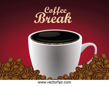 coffee break lettering poster with cup and seeds in red background